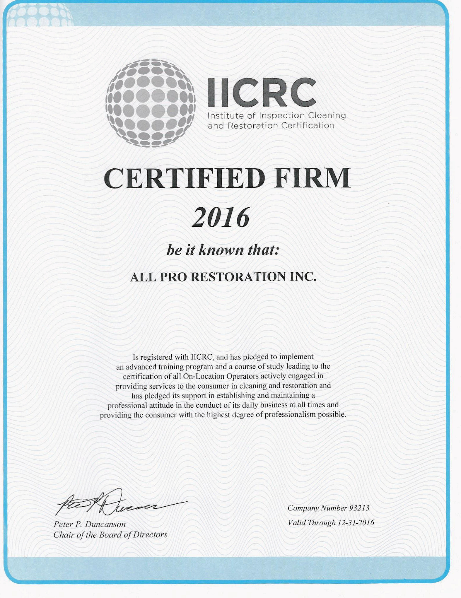 2016 All Pro Restoration Certified Firm